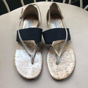 Diane Von Furstenberg Cork Black Suede Sandal 7.5